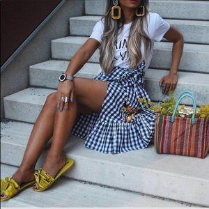 ZARA Gingham Embroidered🌺🌼 Ruffled Skirt